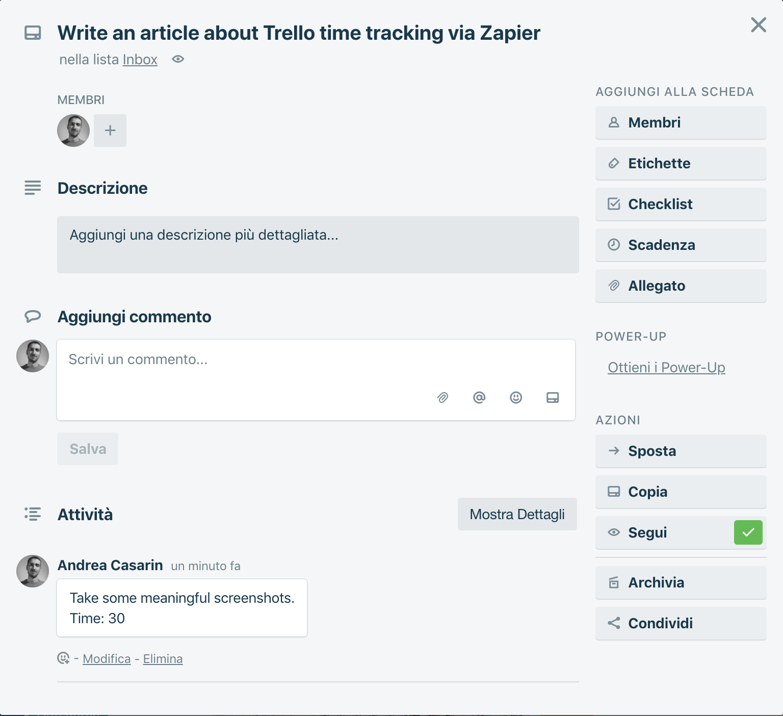 Trello + Zapier + Google Sheets = Time Tracking - Step