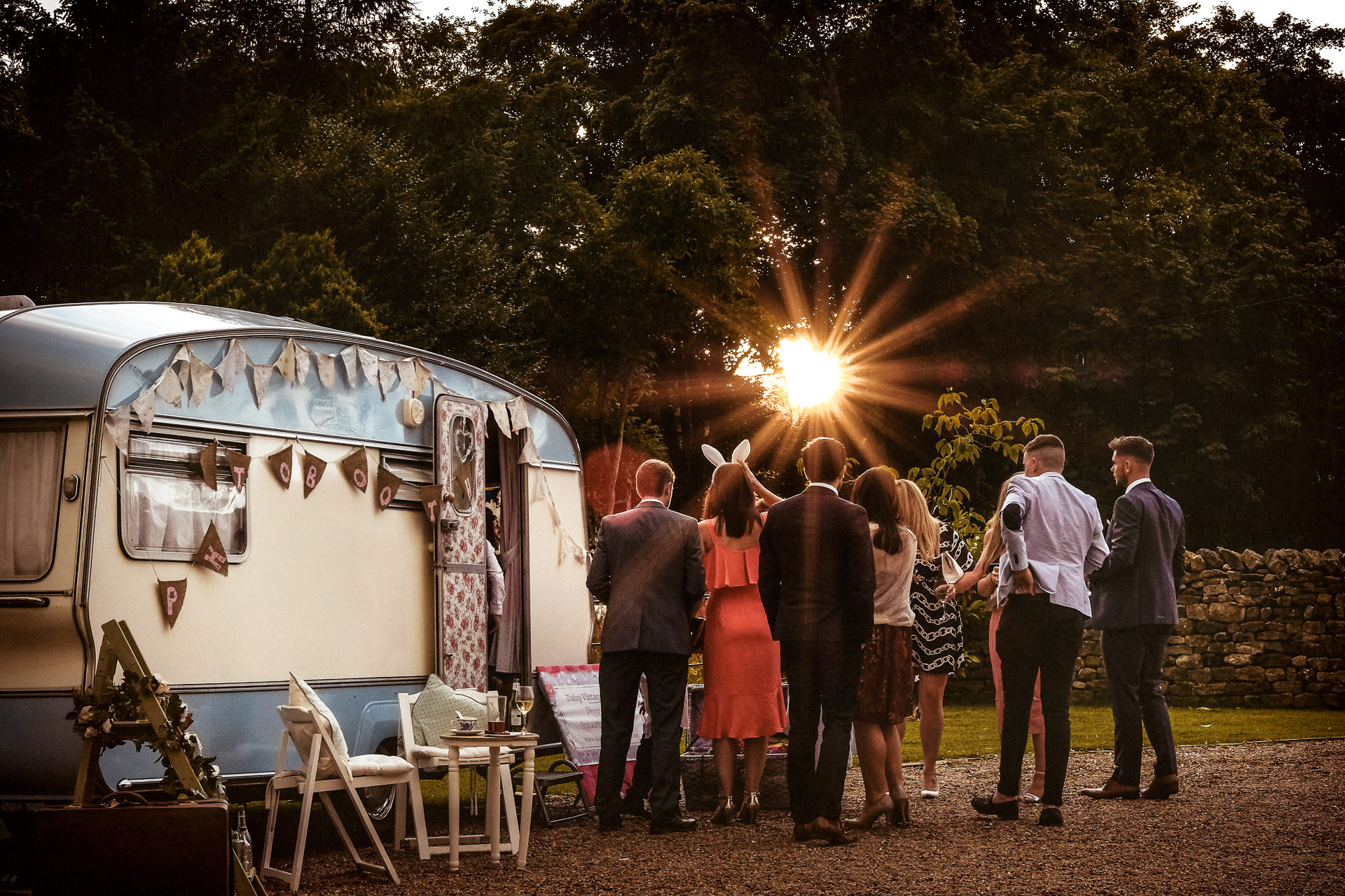 Daisy Vintage Photo Booth at a Browsholme Hall Tithe Barn wedding in Lancashire