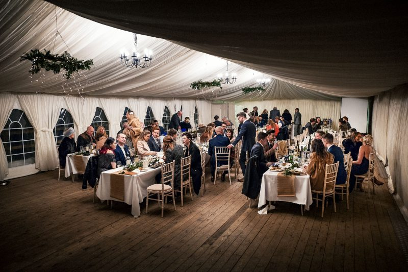 Winter marquee at Hargate Hall wedding