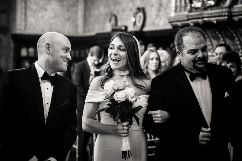 Bride greets the groom in the ceremony at a Carlton Towers wedding in Yorkshire