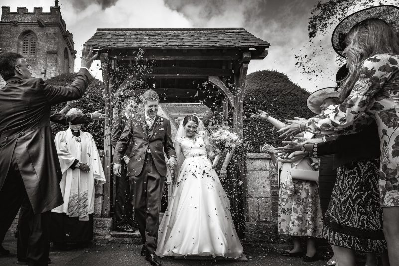 English church wedding with confetti most liked Instagram wedding photo
