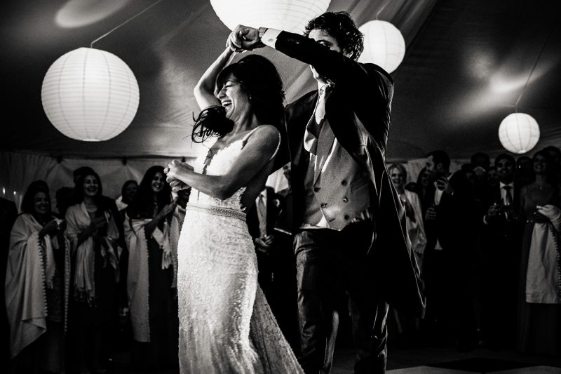 Bride and groom first dance at a wedding at the Hyde Estate Wild Garden in Sussex
