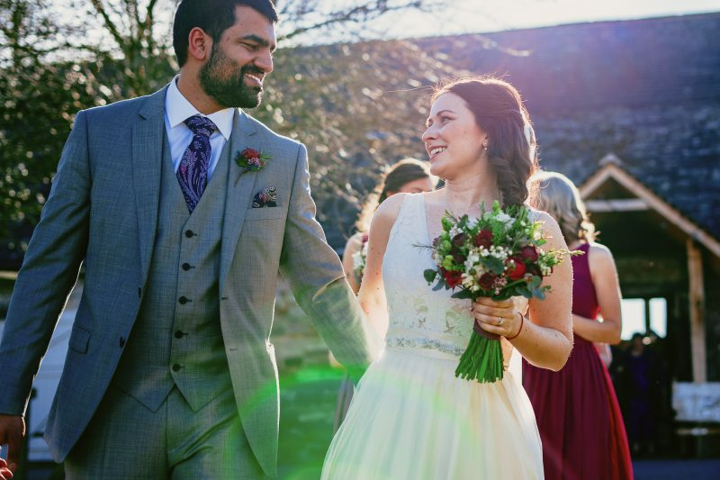 Bride and Groom in sunshine at an Askham Hall wedding