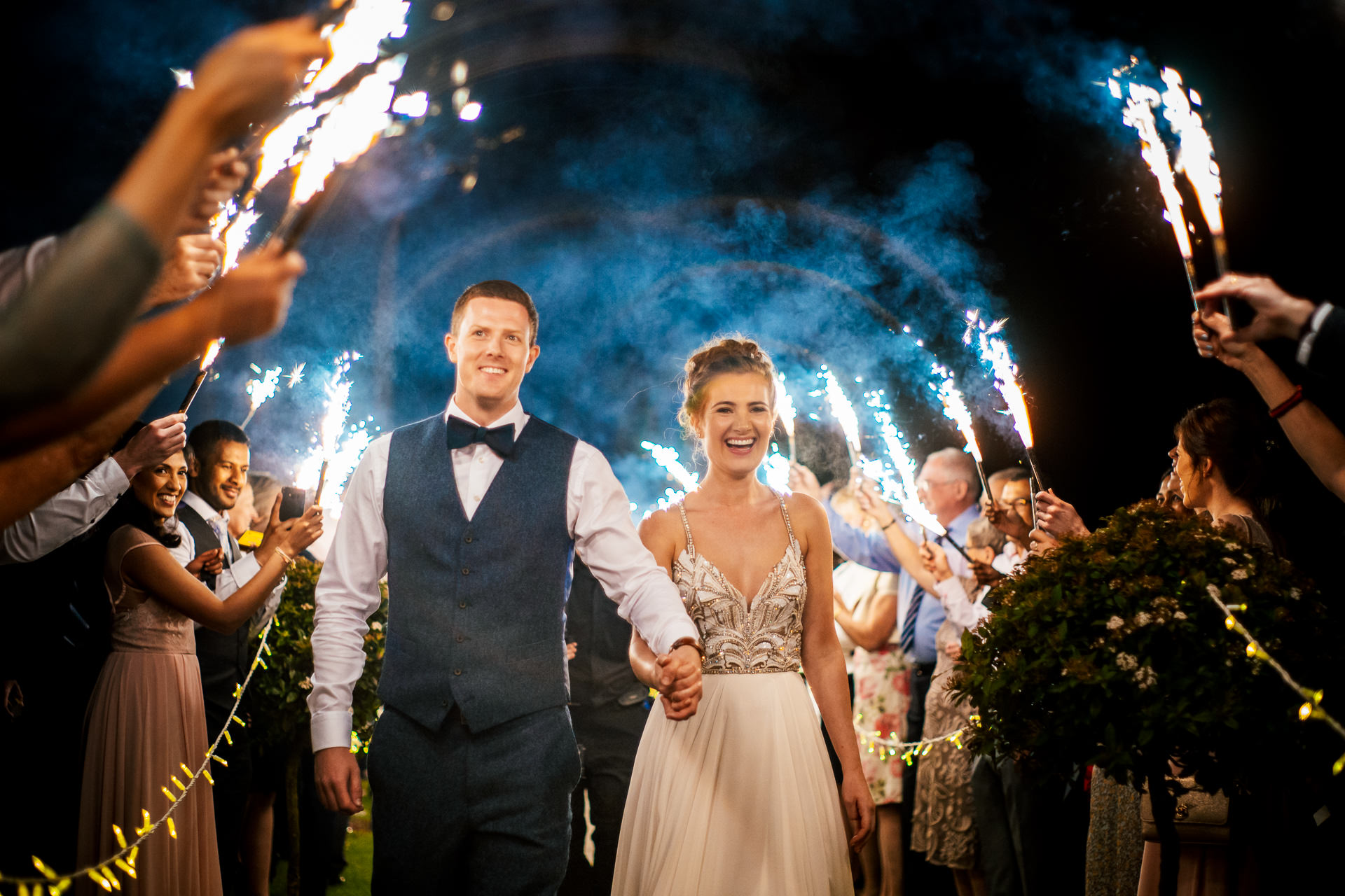 Sparkler and Ice Fountain exit at Blackwell Grange wedding in the Cotswolds