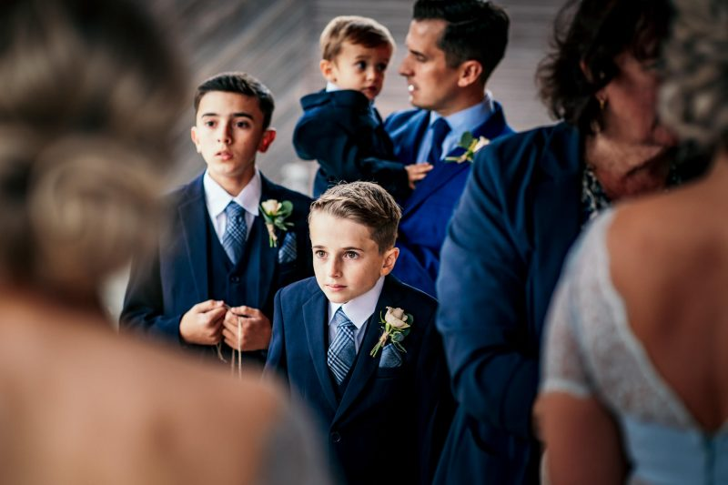 Page boys waiting for the ceremony at a Colshaw Hall wedding