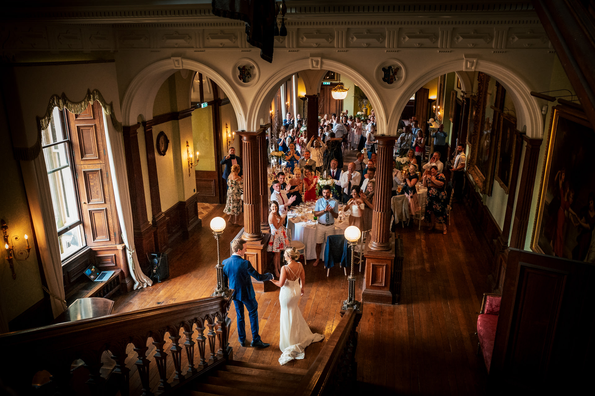 Bride and groom entrance at Sandon Hall in Staffordshire