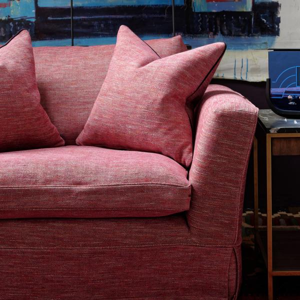 Cadogan_Loveseat_Sofa_upholstered_in_Delfini_Red_Berry_Close_up