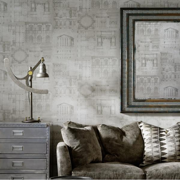 andrew_martin_augustus_wallpaper_and_ladder_charcoal_fabric_cushion_on_gable_charcoal_upholstered_bloomsbury_sofa_lifestyle