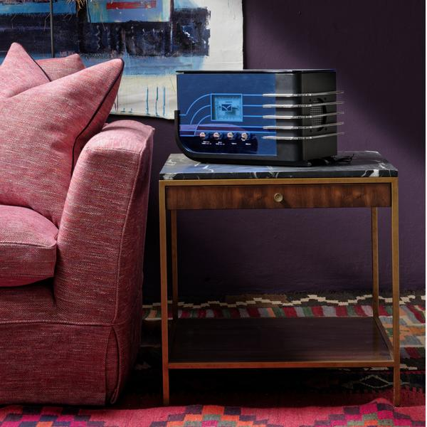 Cadogan_Loveseat_Sofa_upholstered_in_Delfini_Red_Berry_and_Rufus_Side_Table