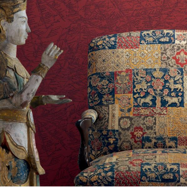 Traveller_Red_Wallpaper_vintage_chair_in_Mapperton_Rust_fabric_Close_Up_