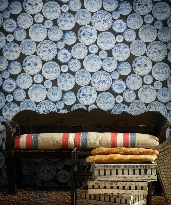 Cargo_blue_grey_wallpaper_vintage_bench_with_seat_cushion_in_Es_Cavalet_2_fabric