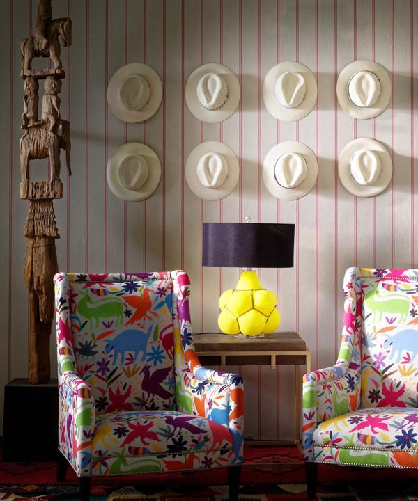 Ric_Rac_Carnival_wallpaper_Venus_Chairs_in_Tiki_Tiki_Carnival_Breuer_side_table_Ernest_table_lamp