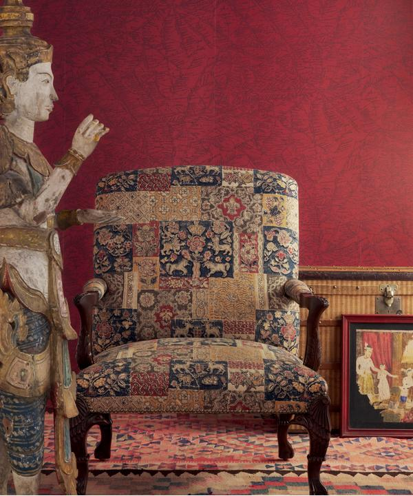 Traveller_Red_Wallpaper_vintage_chair_in_Mapperton_Rust_fabric
