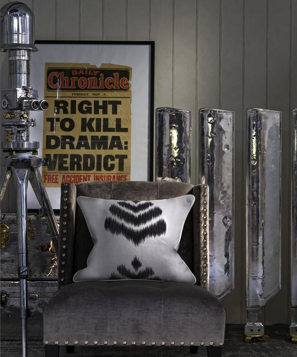 Cushion_in_Merchant_Charcoal_Fabric_Cabin_Cloud_Wallpaper_Triton_in_Ovington_Grey