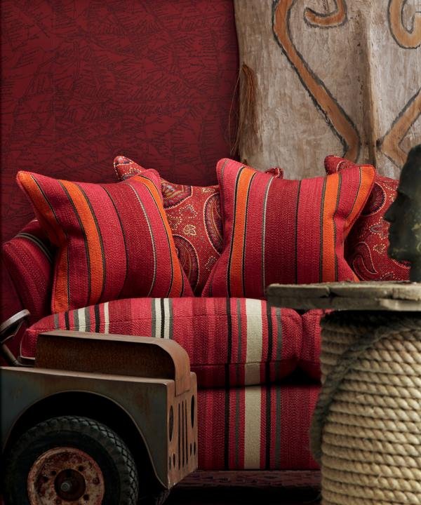 Traveller_Red_Wallpaper_Sofa_in_Portscatho_Plume_with_cushions_in_Portloe_Lobster_Pot_and_Fenton_Red_Lifestyle