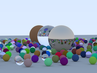 Approximation of the cover of Ray Tracing in One Weekend