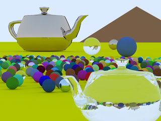 A better view of the dielectric teapot and a pyramid