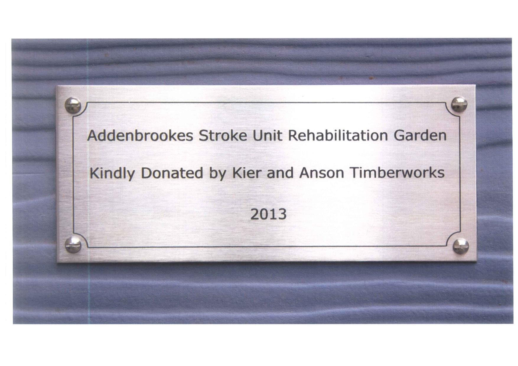 Addenbrookes plack