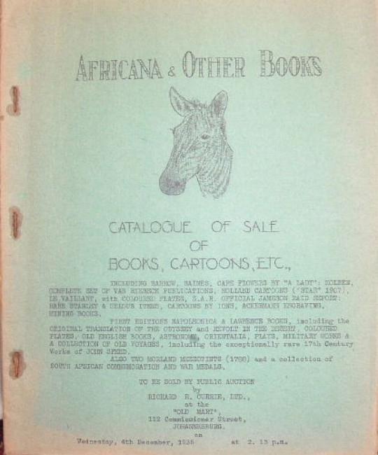Africana & other books .... Catalogue of sale of books, cartoons, etc. ....
