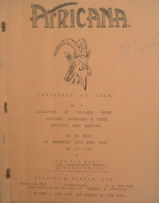 Africana. Catalogue of sale of a collection of valuable books, pictures, banknotes & cois, including many rarities ....