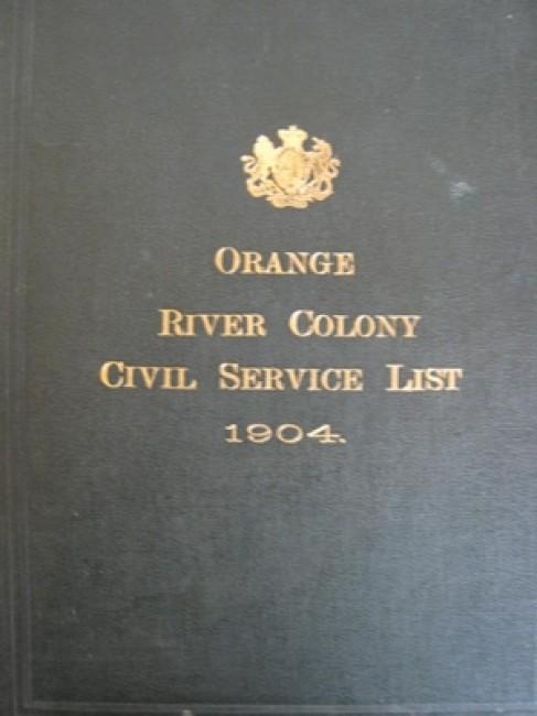 Orange River Colony Civil Service List 1904