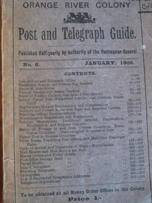 Orange River Colony Post and Telegraph Guide (ex-library; 1906)