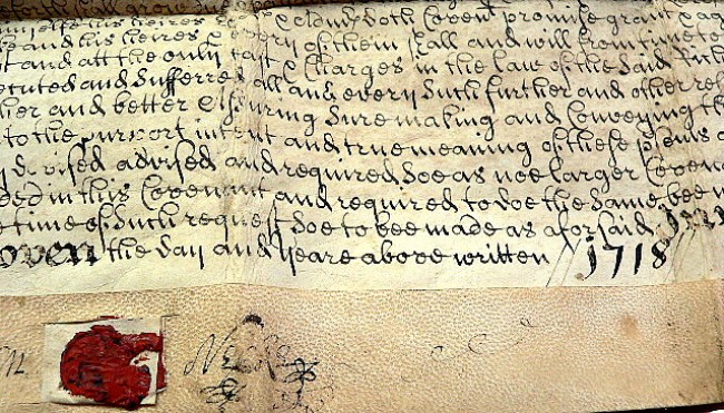 1718 INDENTURE DOCUMENT (three century old calligraphy on a parchment ...