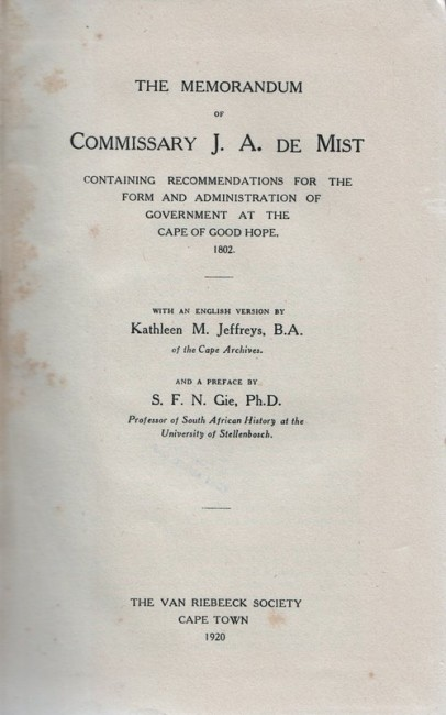 THE MEMORANDUM OF COMMISSARY J.A. DE MIST.