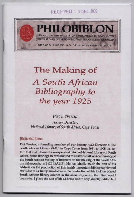 PHILOBIBLON. Journal Of The Society Of Bibliophiles In Cape Town.