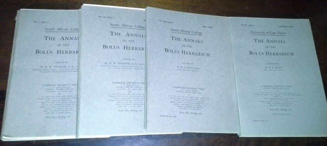 The Annals of the Bolus Herbarium.  (Four  volumes  in  16  parts  complete).