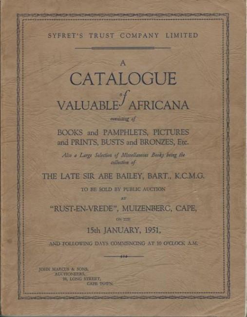 CATALOGUE OF VALUABLE AFRICANA, ETC
