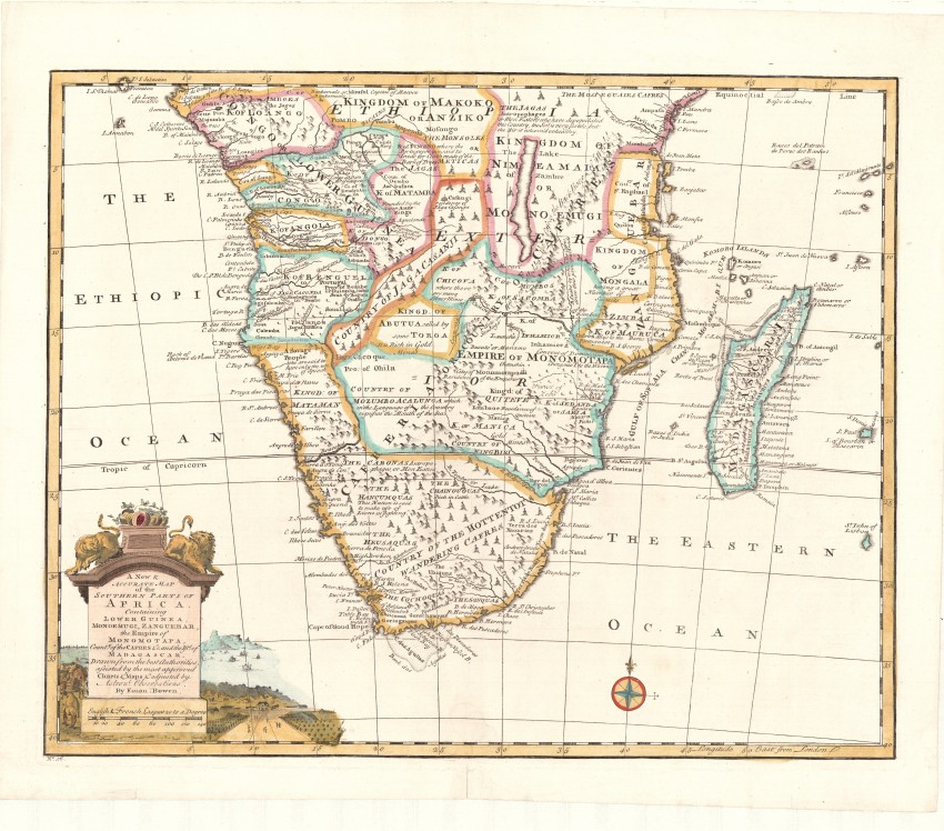 Accurate Map Of Africa.A New Accurate Map Of The Southern Parts Of Africa Auction 52