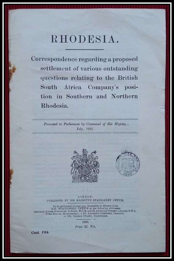 BRITISH SOUTH AFRICA COMPANY'S position in Southern and Northern Rhodesia (1923)