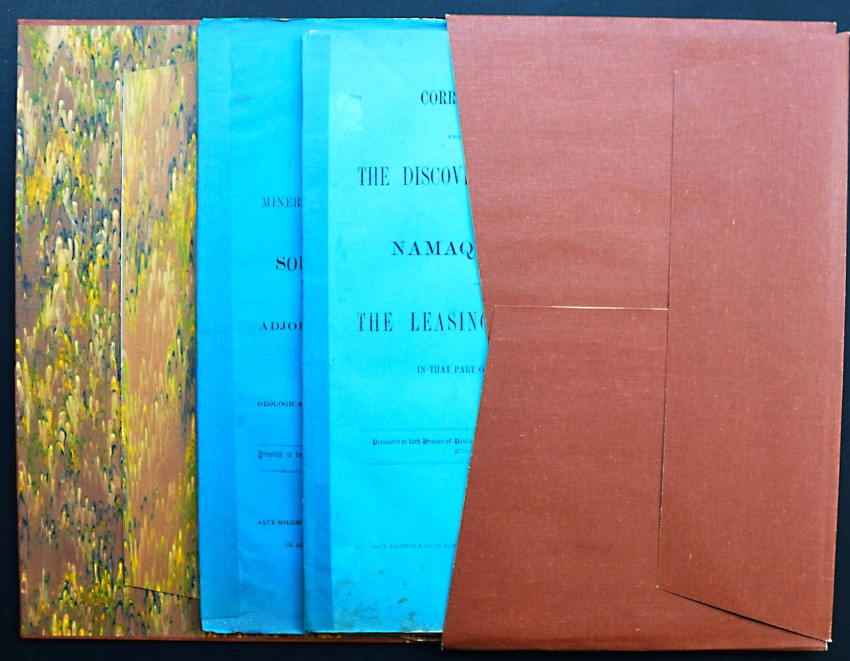MINING IN NAMAQUALAND. TWO RARE EARLY CAPE GOVERNMENT BLUE BOOKS EX LIB. C.A. FAIRBRIDGE - 1854-1857