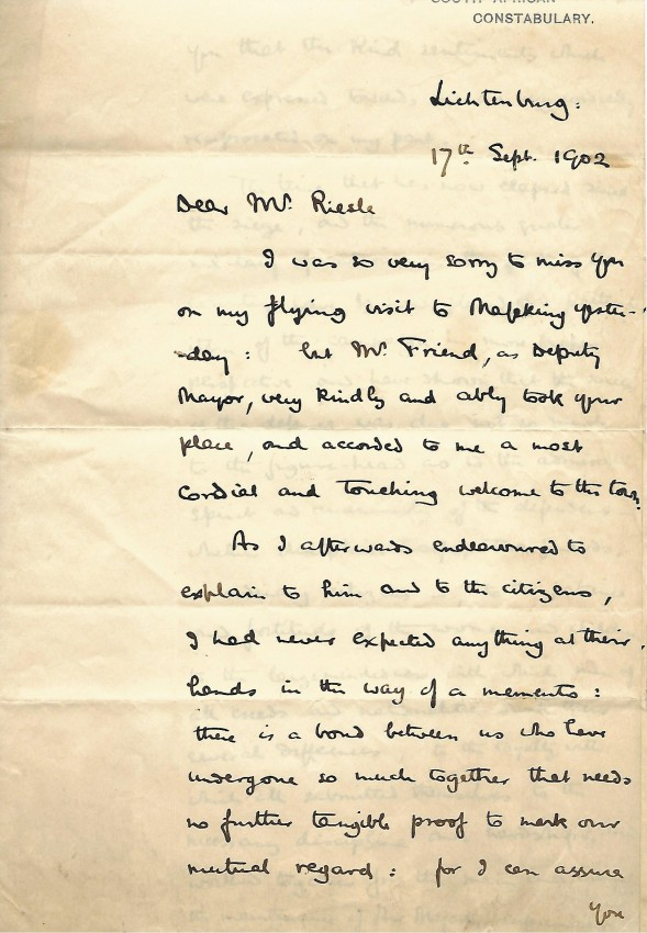 EXCEPTIONAL BADEN-POWELL AUTOGRAPH LETTER RE THE SIEGE OF MAFEKING