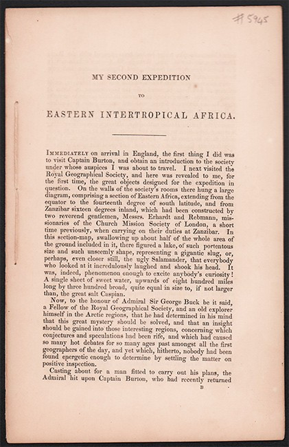 MY SECOND EXPEDITION TO EASTERN INTERTROPICAL AFRICA (Pre-publication pamphlet)