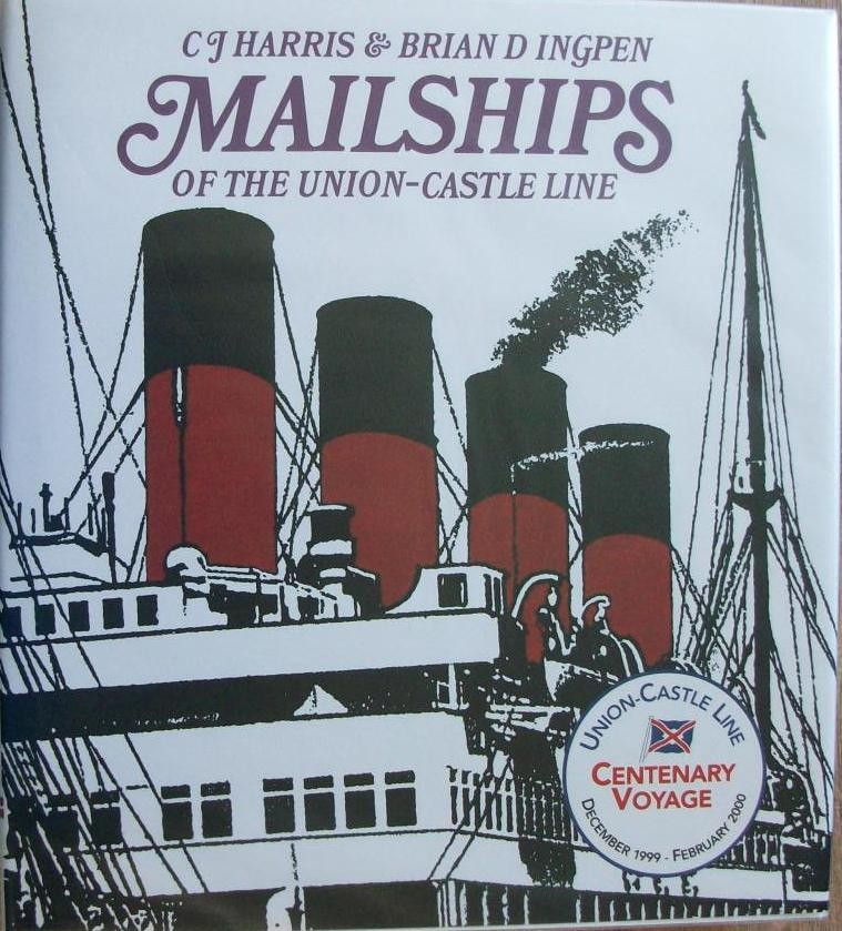 Mailships of the Union-Castle Line + Mounted painted feather of  SCOT, dated 1895
