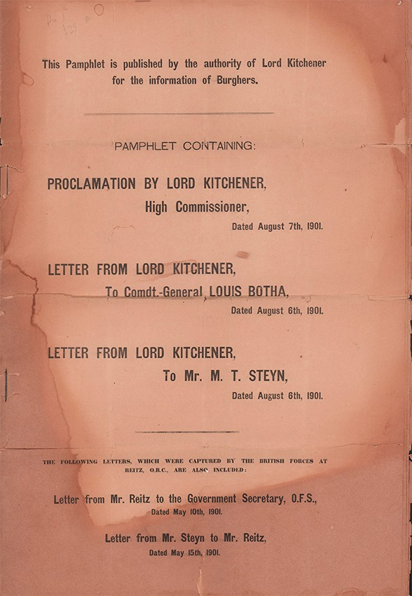 PAMPHLET PUBLISHED BY THE AUTHORITY OF LORD KITCHENER
