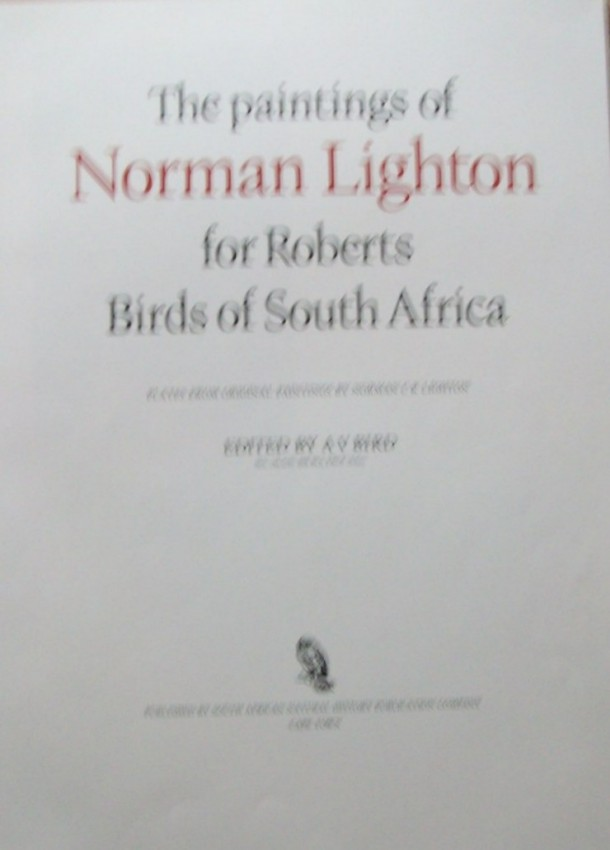 The Paintings of Norman Lighton for Roberts Birds of South Africa