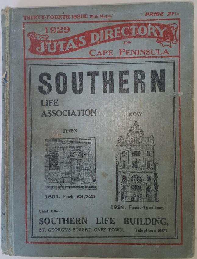 Juta's / Directory / of the / Cape / Peninsula, / 1929.