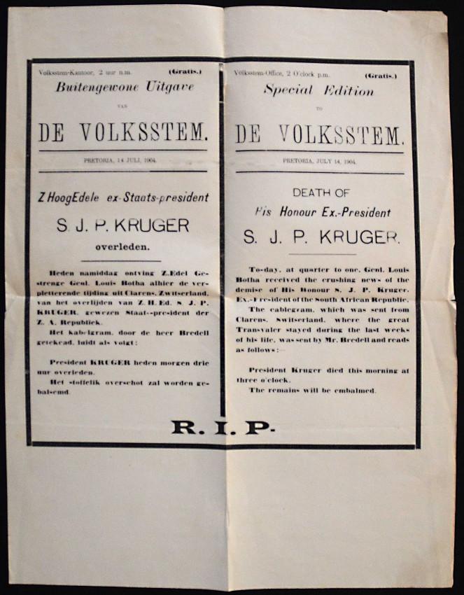 BROADSIDE ISSUED BY DE VOLKSSTEM ANNOUNCING THE DEATH OF PAUL KRUGER