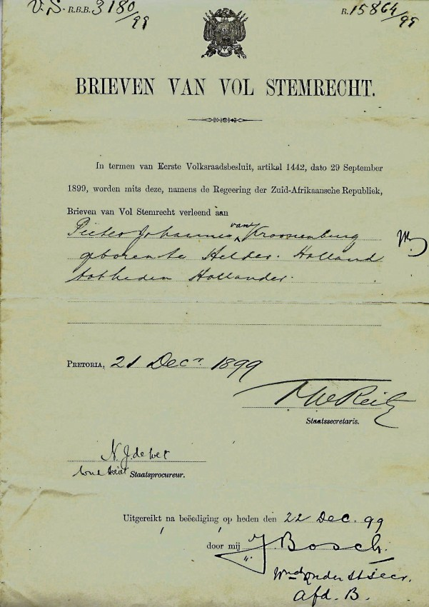 BRIEVEN VAN VOL STEMRECHT - DOCUMENT SIGNED BY STATE SECRETARY OF THE ZAR F.W. REITZ