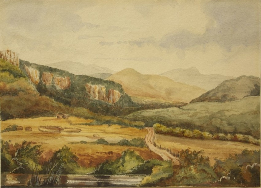 A very old watercolour dated 1866 of the Booma Pass, British Caffraria