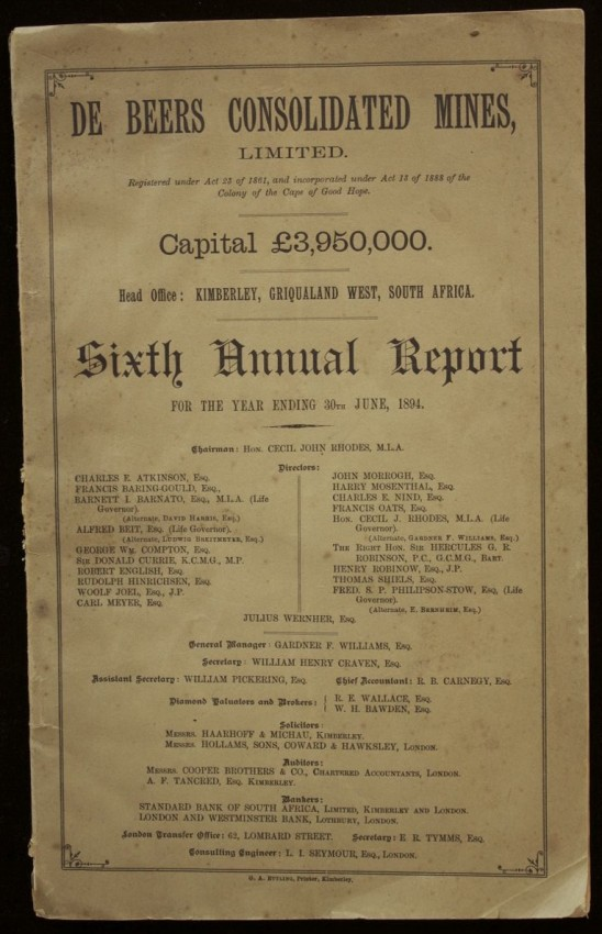 De Beers Consolidated Mines, Sixth annual Report for the Year ending 30th JUNE, 1894