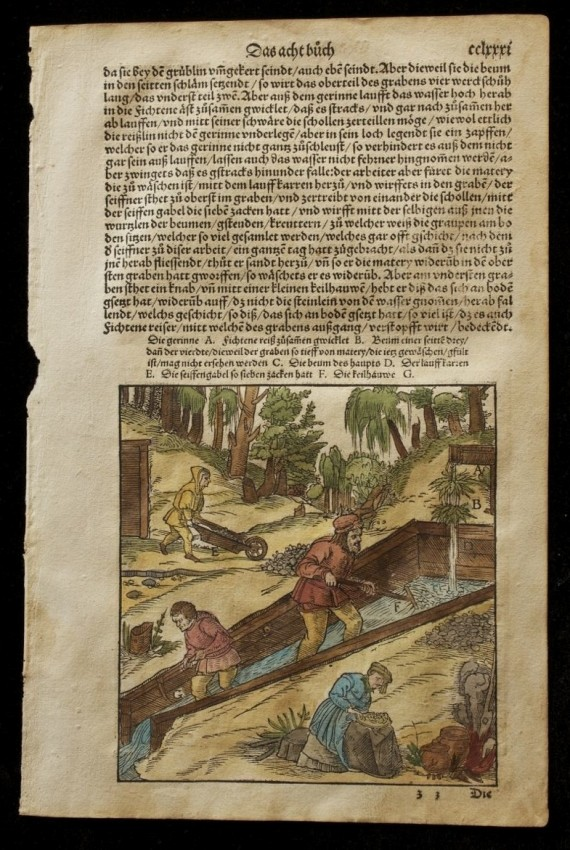 Page CCLXXXI from Vom Bergwerck  (An Original Leaf from the First Systematic Treatise on Mining and Metallurgy, published in 1557)