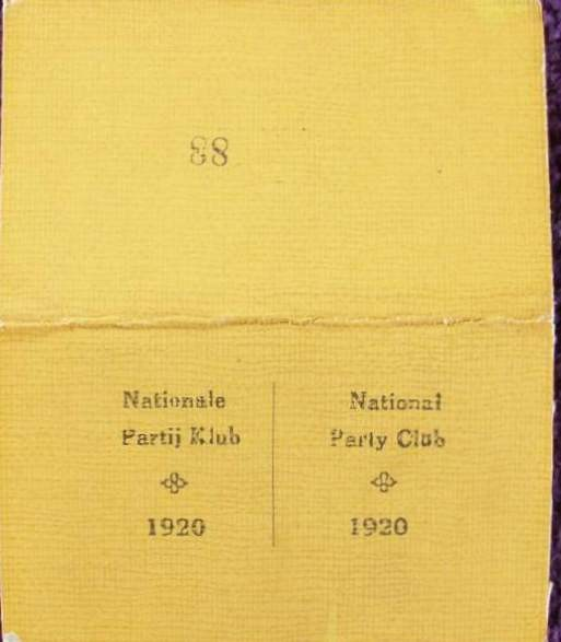 A National Party Membership card and a National Party Club Card - both with signatures