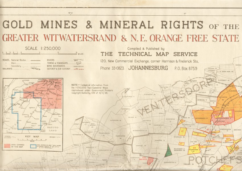 GOLD MINES & MINERAL RIGHTS OF THE GREATER WITWATERSRAND & NORTH EAST ORANGE FREE STATE