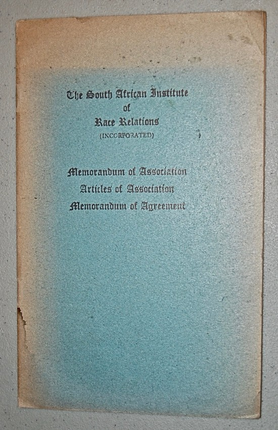 Twenty-five Monographs, Pamphlets and Booklets, on Racial Relations and Economic Policy in Southern Africa dating from 1939- 1959