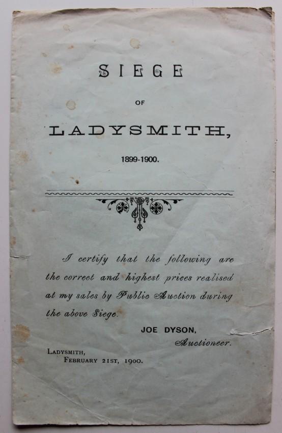 Siege of Ladysmith 1899-1900 Auction List