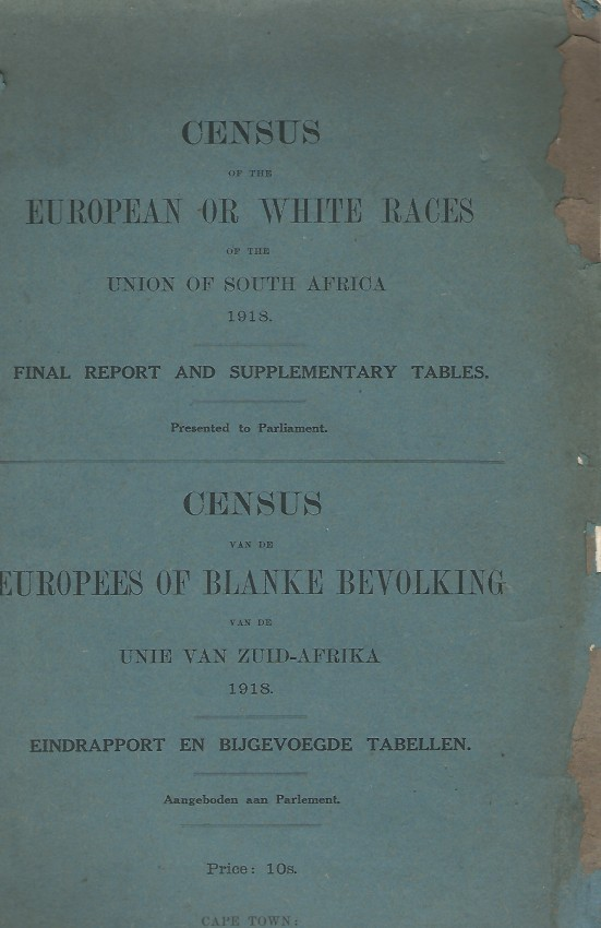 Census of the European or White Races of the Union of South Africa 1918